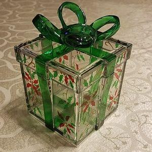 Molded acrylic holiday gift box, Poinsettia